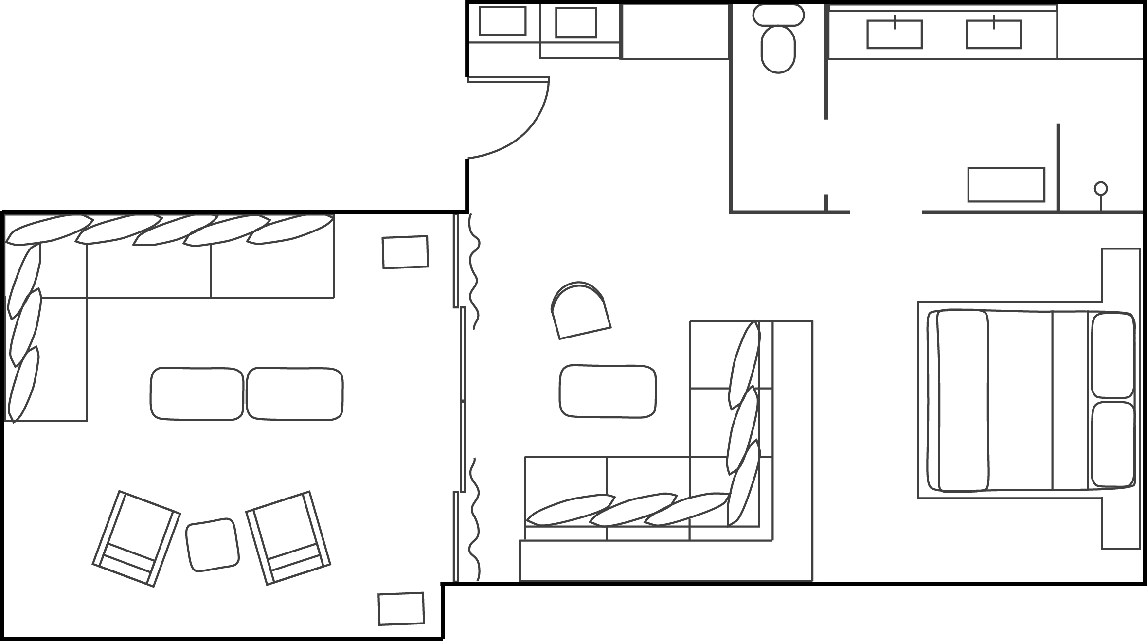 Floor Plan of Mountain Suite Hotel Room