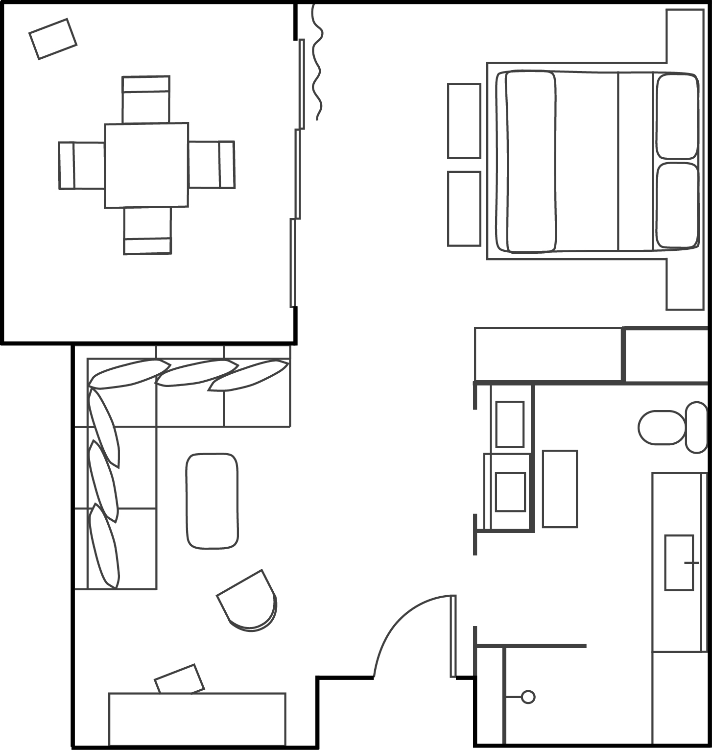 Floor-plan of Garden Suite hotel room