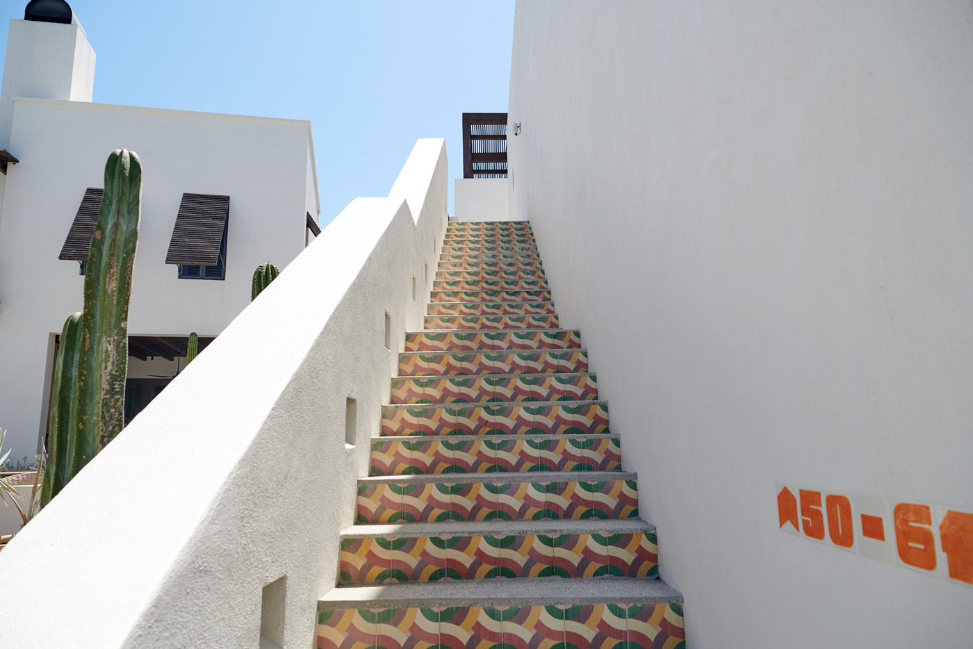 Exterior stairs at the hotel